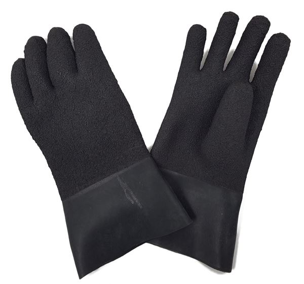Billede af KUBI - Textured sorte gummi handsker i latex
